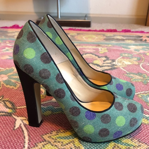 7e3ace114 Cecconello Shoes - Cecconello Polka Dot Fabric   Satin High Heels
